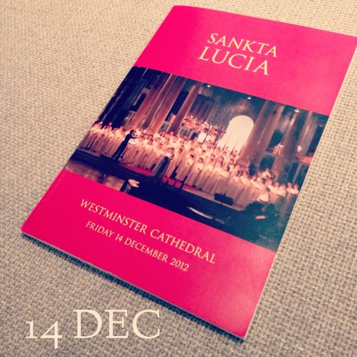 14 December – Sankta Lucia at Westminster Cathedral